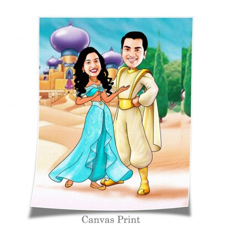 Aladdin And Jasmine Couple Caricature Art