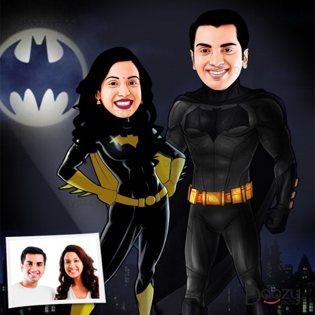 Dark Knight Batman Couple Caricature