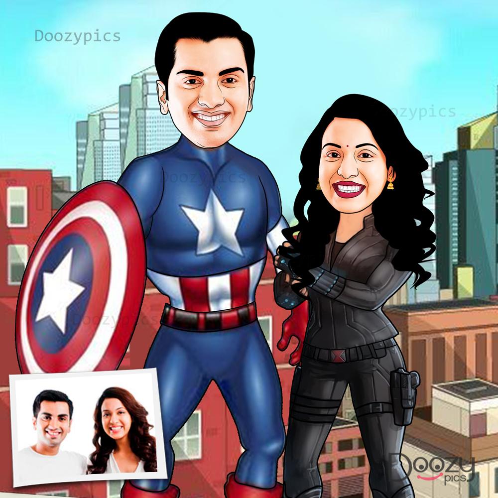 Captain America Couple Caricature Art