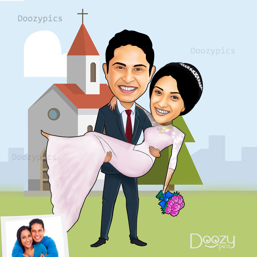Christian Wedding Caricature Art