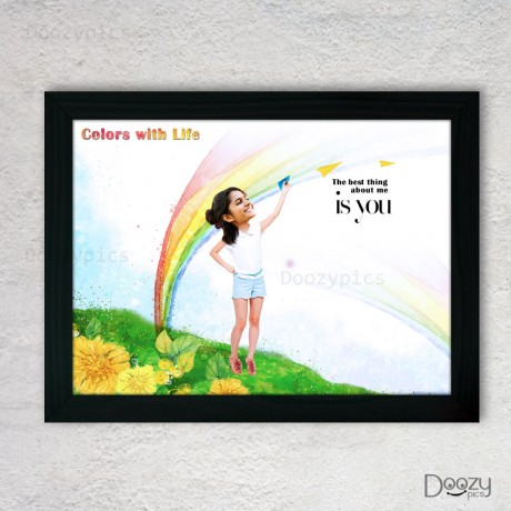 Cheerful Girl Caricature with Quote