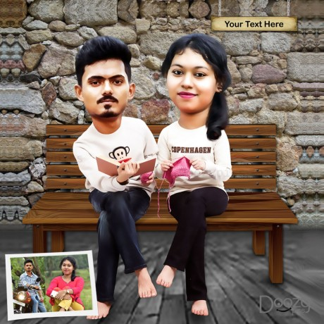 Personalised Couple Caricature with text