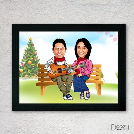Chilling Couple Caricature Art