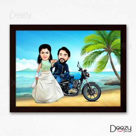 Couple On Bike At Beach Caricature Art