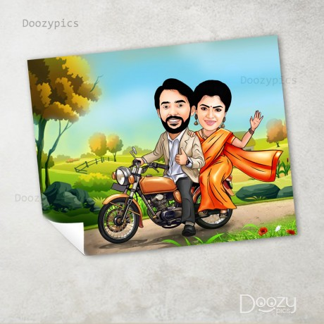 Personalised Couple Bike Riding Caricature