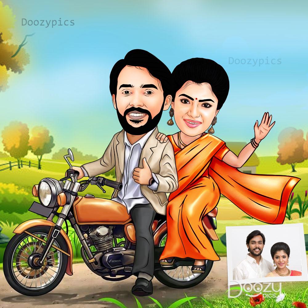 Personalised Couple Bike Riding Caricature
