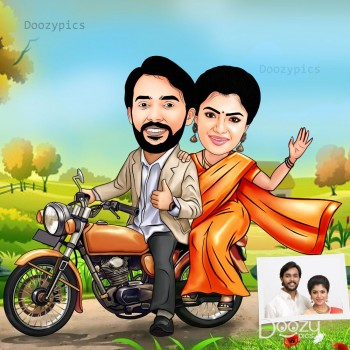 Couple On Bike Caricature Art