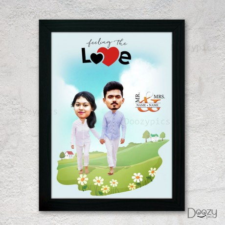 Feeling the Love Quoted Couple Caricature Art