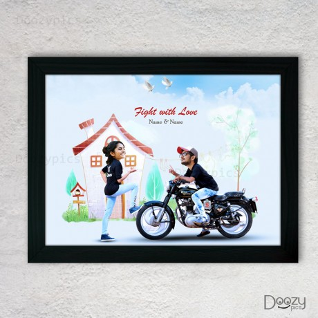 Fight With Love Couple Caricature Art
