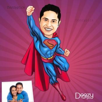 Flying Superman Caricature Art
