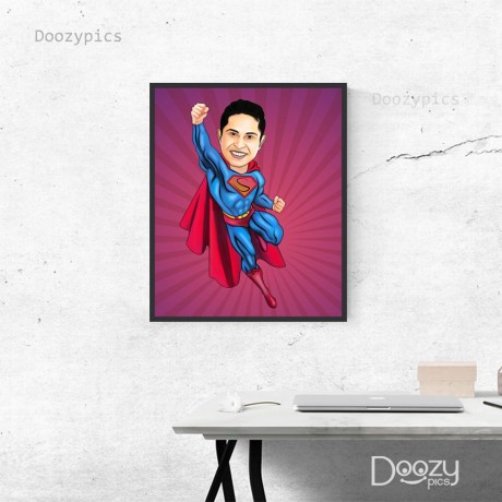 Flying Superman Caricature Art