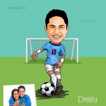 Football Player Caricature Art