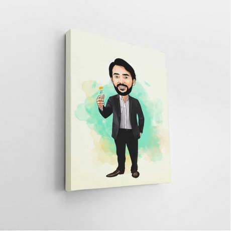 Gentleman Tossing a Coin Caricature