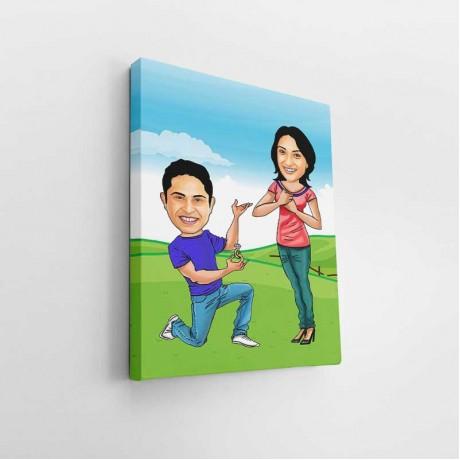 Proposing Couple Caricature Art