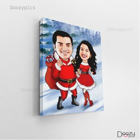 Santa Couple Caricature Art