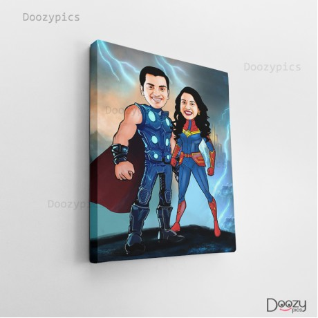 Thor Couple Caricature Art