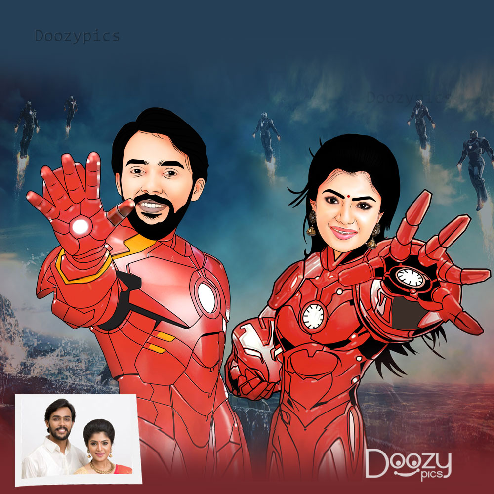 Iron Man Couple Caricature Art