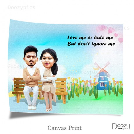 Personalised Couple Caricature with Quote