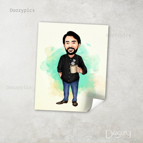 Man Holding Cup Caricature Art