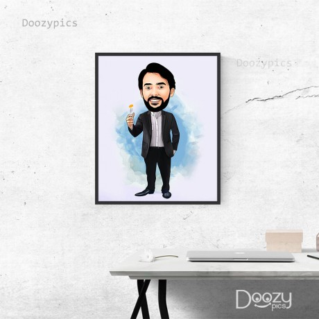 Man Tossing Coin Caricature Art