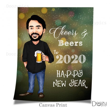 Happy New Year Single Caricature Art