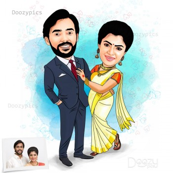 Modern Couple Caricature Art