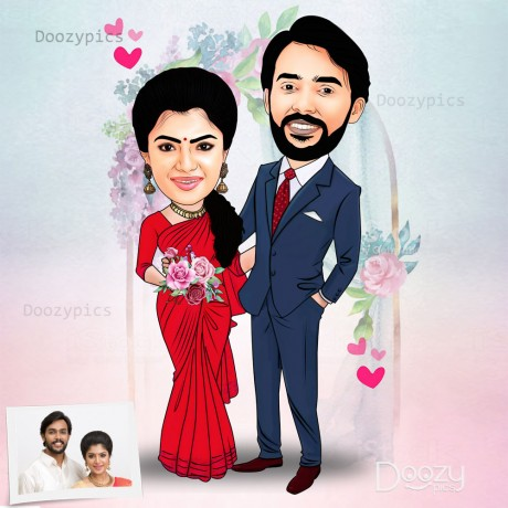 Newly Married Couple Caricature