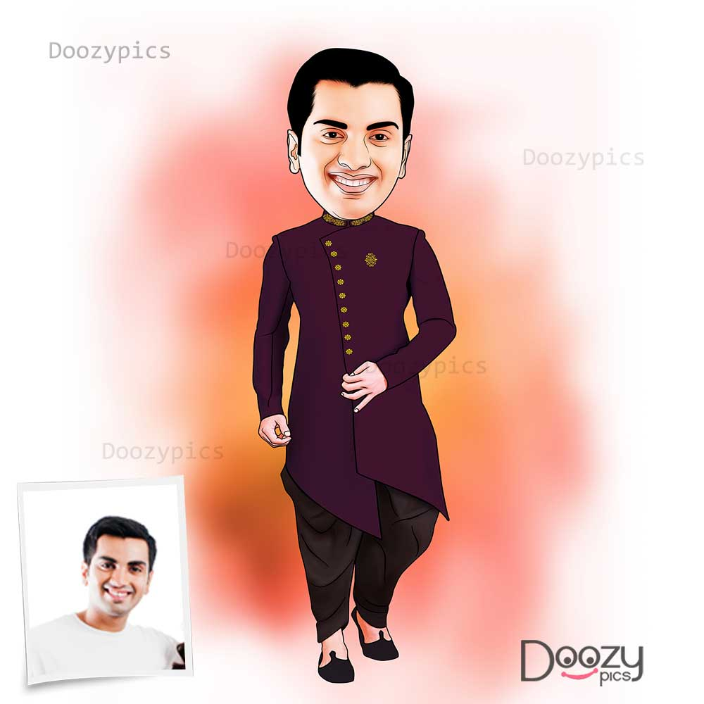 North Indian Men Traditional Caricature