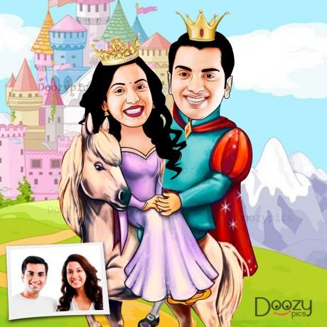 Prince And Princess Couple Caricature Art