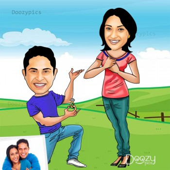 Proposing Couple Caricature Art