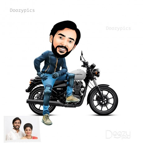 Royal Enfield Bike Rider Caricature Art