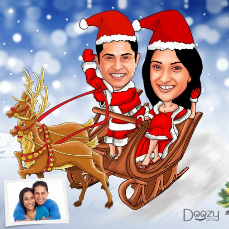 Couple on Santa sleigh Caricature Art