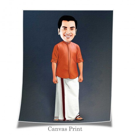 South Indian Men Traditional Caricature