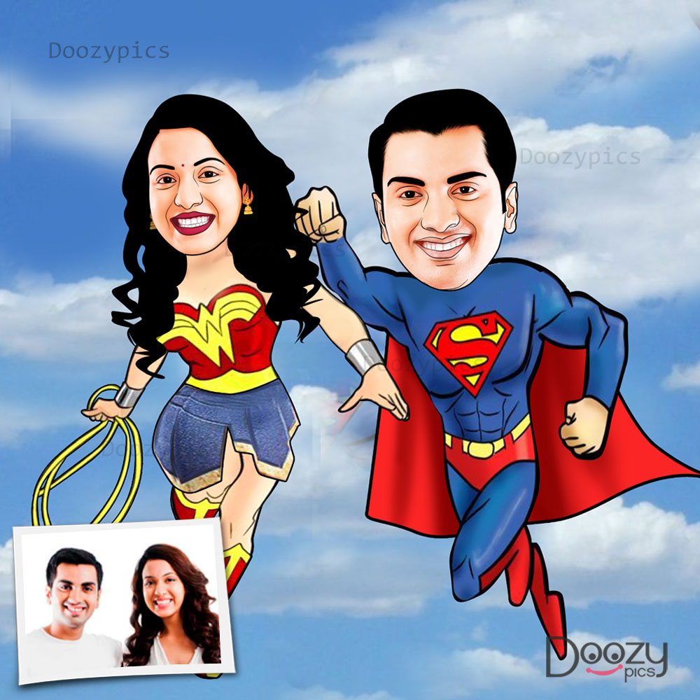 Superman And Wonder Woman Couple Caricature Art