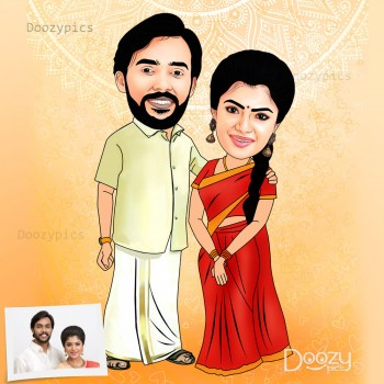 Traditional Couple Caricature Art