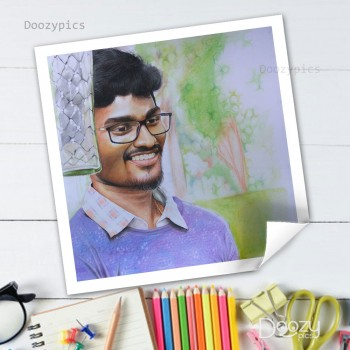 Personalised Handmade Colored Pencil Sketch