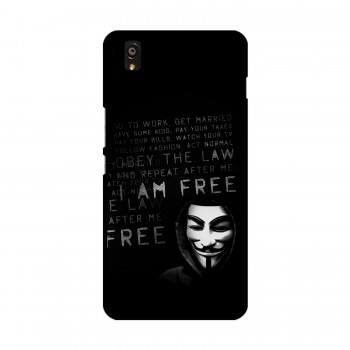 I am Free Text Printed OnePlus Mobile Case