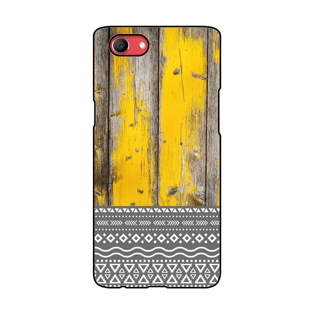Yellow Wooden Pattern Printed Oppo Mobile Case