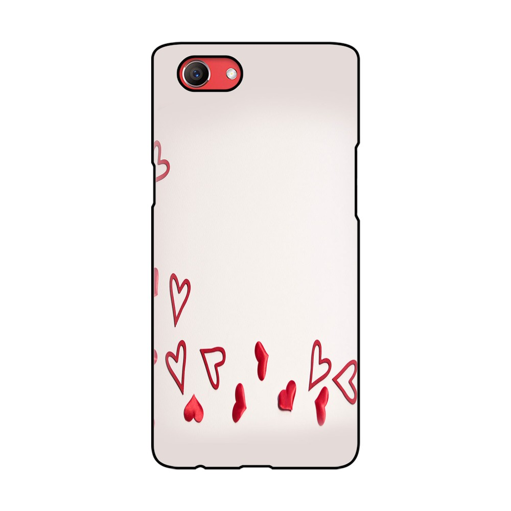 Red Colored Hearts Printed Oppo Mobile Case