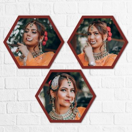 Personalized Hexagon Triple Horizontal Frames