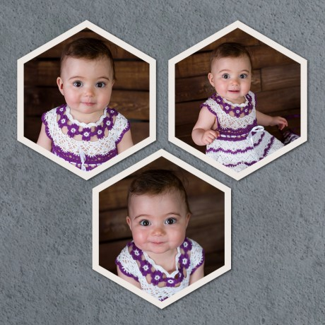 Personalized Hexagon Triple Vertical Frames
