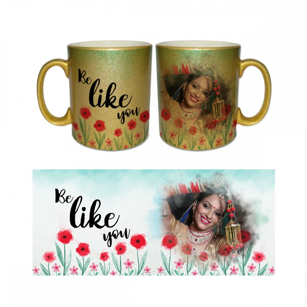 Personalised Gold coloured photo Mug with text