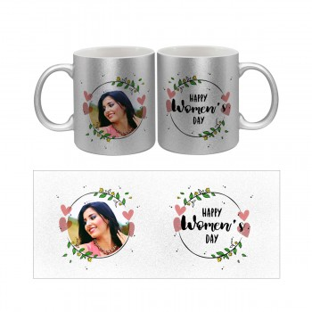 Personalised Happy Womens Day Silver coloured Photo Mug