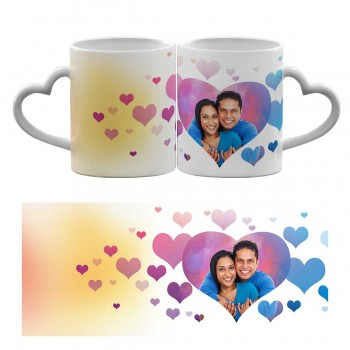 Personalised Heart Handle Mug with Love shape design