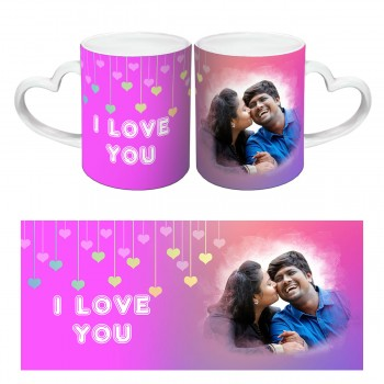 I Love You Quoted Heart Handle Photo Mug