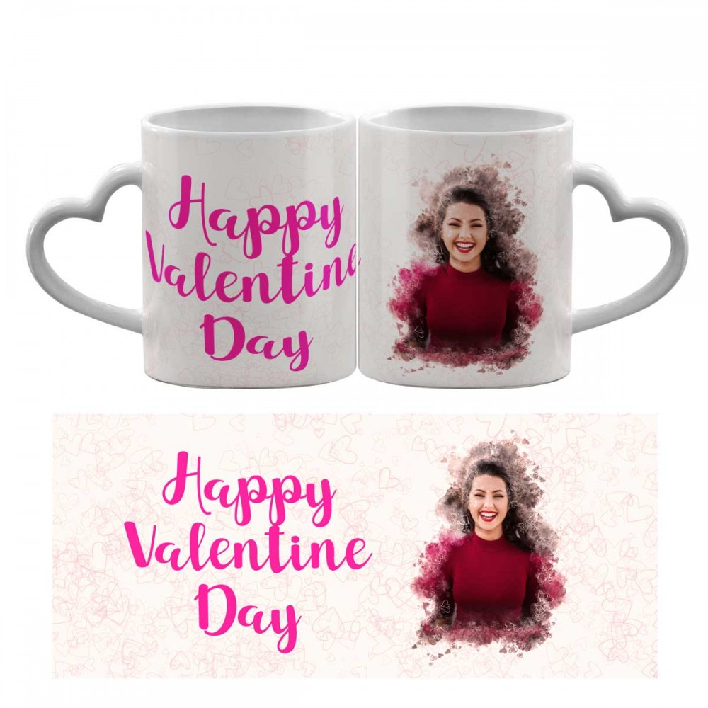 Personalised Heart Handle Photo Mug with Text.
