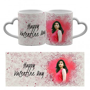 Personalised Heart handle Mug with Text