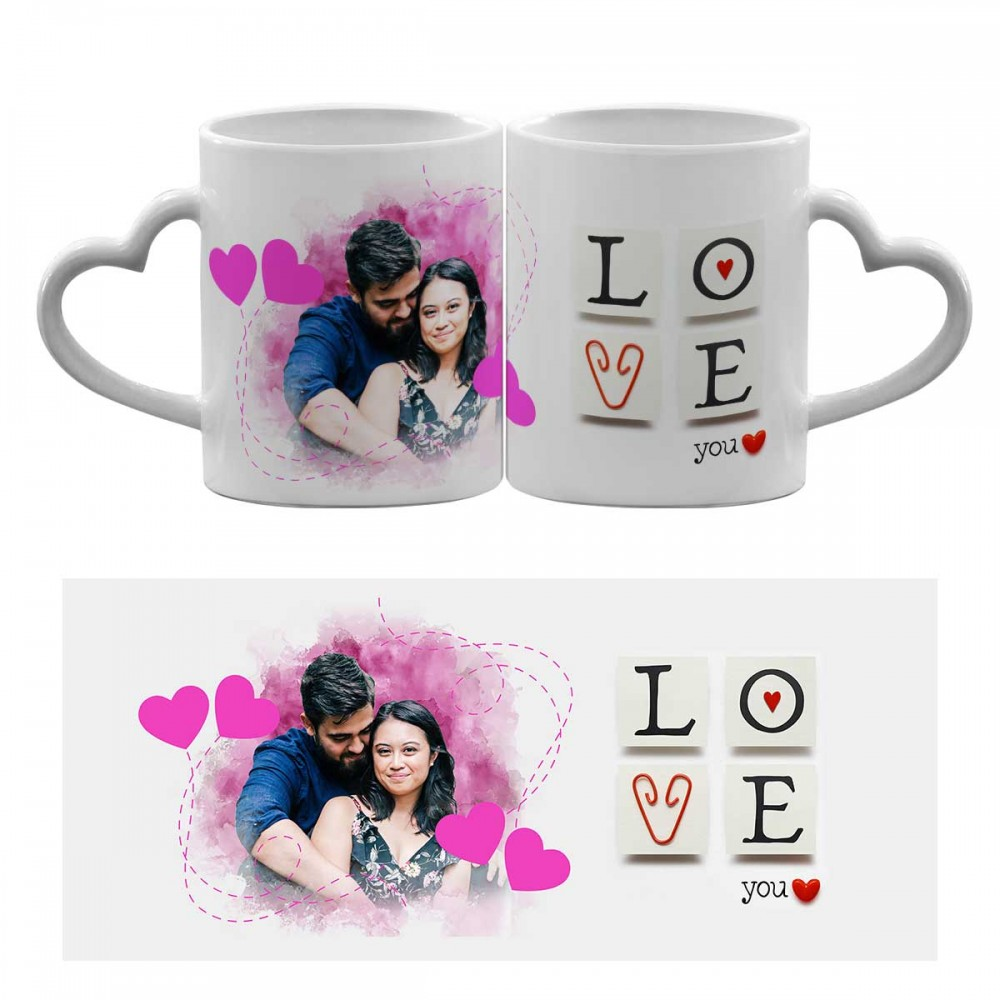 Personalised Heart Handle Photo Mug