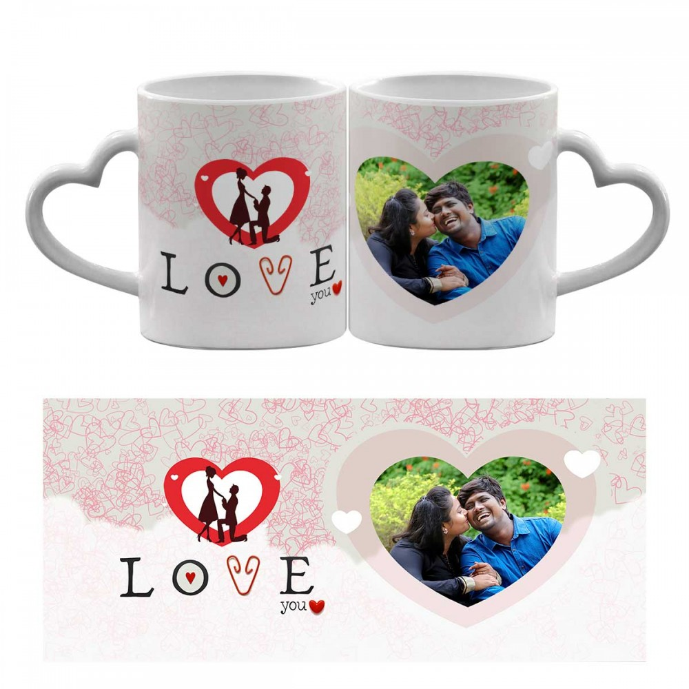 Personalised Love you quoted Heart Handle mug