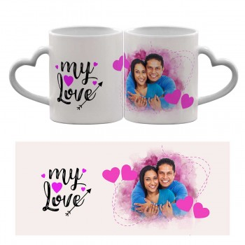 Personalised Heart Handle Mug with My Love quote